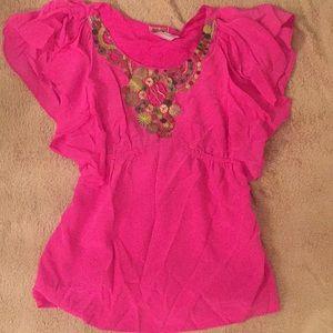 Yoana baraschi anthropolgie pink silk top size 4